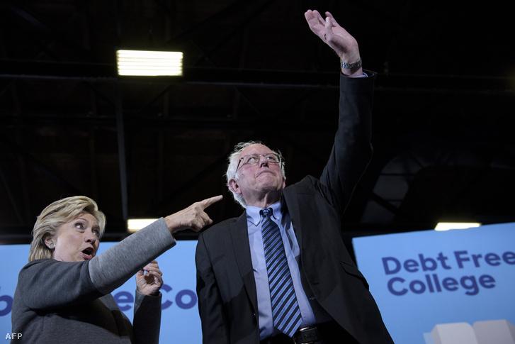 Bernie Sanders és Hillary Clinton New Hamphsire-i egyetemen tartott kampányrendezvényen