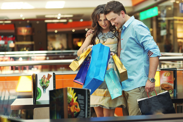 stockfresh 948157 young-couple-in-shopping-center sizeM