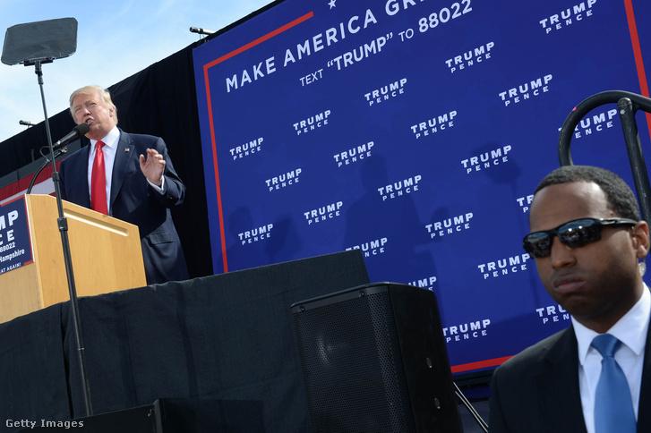 Donald Trump New Hamphire államban tartott beszédén.