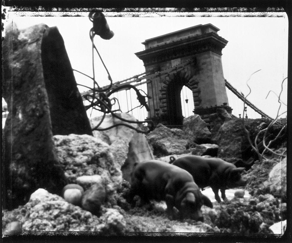 Az előtérben játékok, a háttérben Budapest, a kettő mégis egynek látszik. A képek camera obscurával készültek, Polaroid 55-re fényképezve.