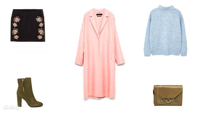 Szoknya - 4890 Ft (H&M), kabát - 29995 Ft (Zara), pulóver - 8995 Ft (Mango), csizma - 69,95 euró (Promod), táska - 28 font (Asos)