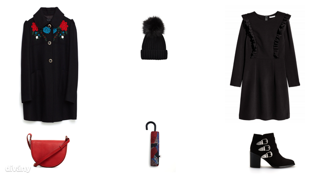 Kabát - 35995 Ft (Zara), sapka - 3090 Ft (F&F), ruha - 9990 Ft (H&M), táska - 5595 Ft (Mango) , esernyő - 4595 Ft (Mango), bokacsizma - 14995 Ft (Reserved)