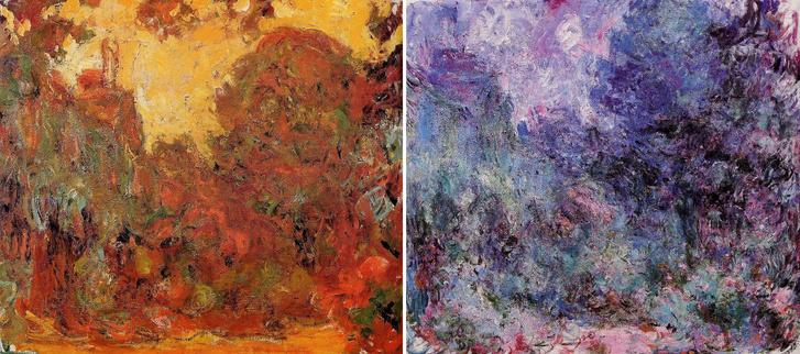 Ház a rózsakertből nézve festménysorozat (1922-1924) két képe, a bal oldali korábban, a műtét előtt készült, a jobb oldali a szemlencse eltávolítása után