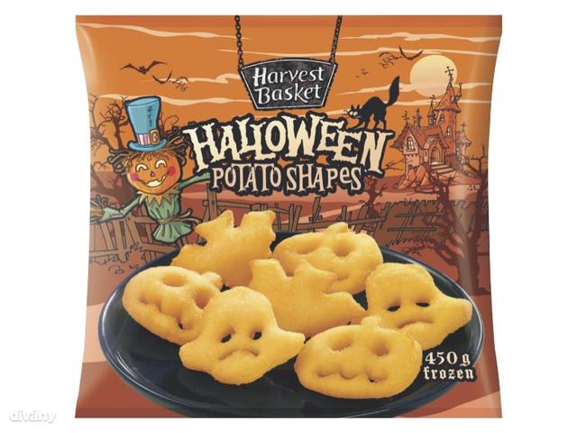 A rántott denevér mellé viszont ehet szintén halloween témájú krumplit. Már ha van szíve megenni a kép szerint rendkívül kétségbe esett krumpli szellemeket. Egyébként 450 gramm kerül 349 forintba.