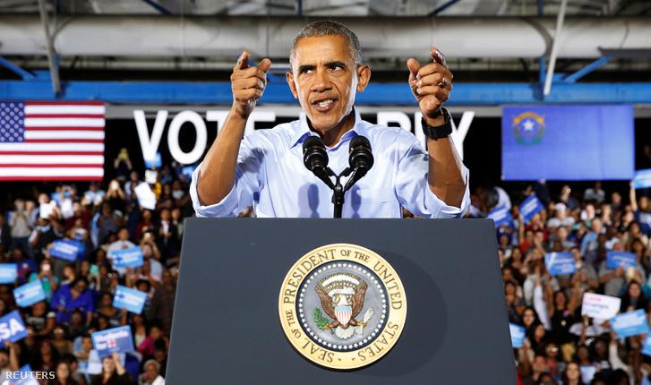 Barack Obama amerikai elnök Las Vegasban kampányol Hillary Clinton oldalán, 2016. október 23-án.