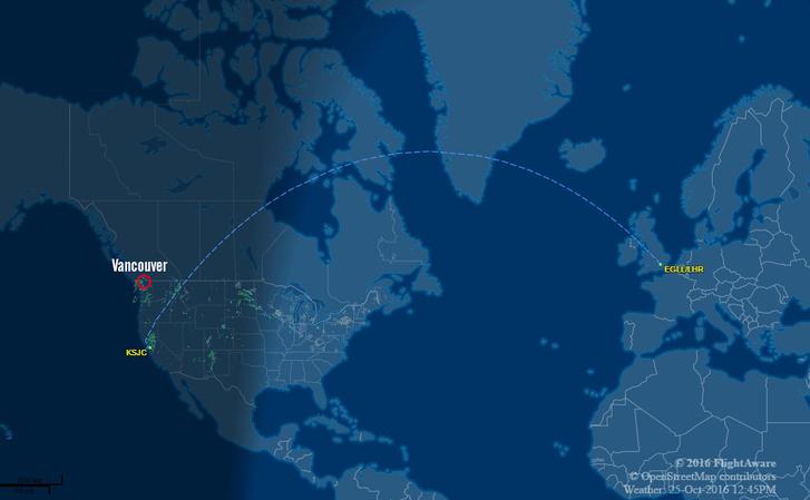 A gép tervezett útvonala, pirossal pedig a kényszerleszállás helye