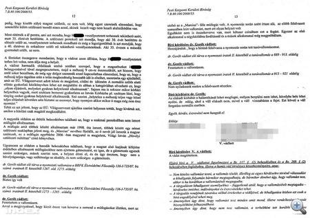 A bírósági jegyzőkönyv 12-13. oldala - Kattintson a nagyításhoz!
