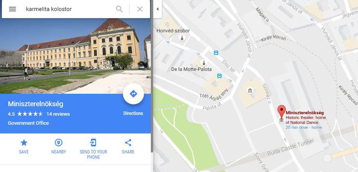 A Karmelita kolostor az átépítés után kormányépületként fog funkcionálni. A Google térképe már a jövőbe lát és Miniszterelnökségnek ismeri a helyet.