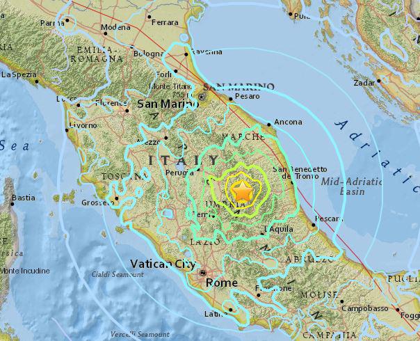 A földrengés központját és az érintett területet mutatja ez a térkép