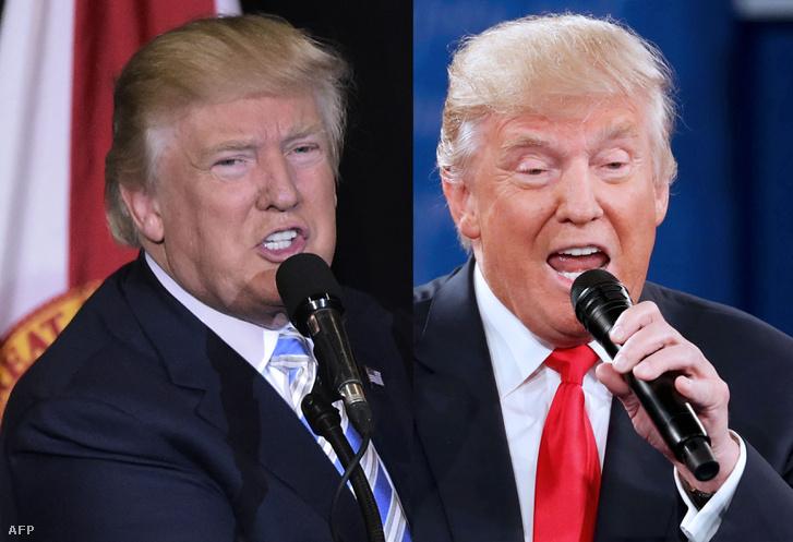 Donald Trump egy mai kampányfotón, és egy hónappal ezelőtt az elnökjelöltek televíziós vitáján.