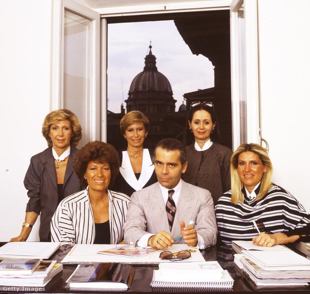 Karl Lagerfeld és a Fendi nővérek.