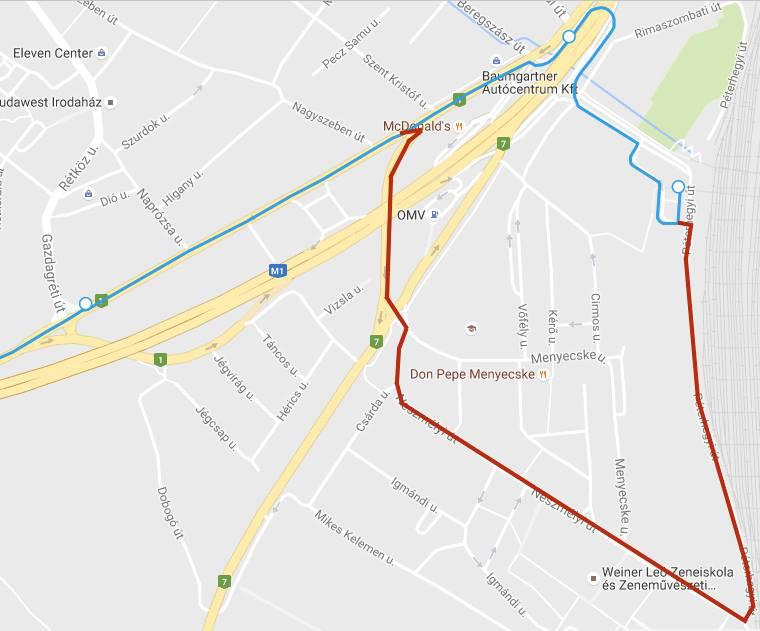 A piros vonal a terelt; a kék a jelenlegi, 800 méterrel rövidebb útvonalat jelöli