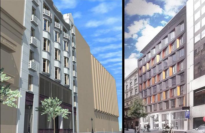 Balra az eredeti homlokzat helyreállítási terve, jobbra az új hotelé
