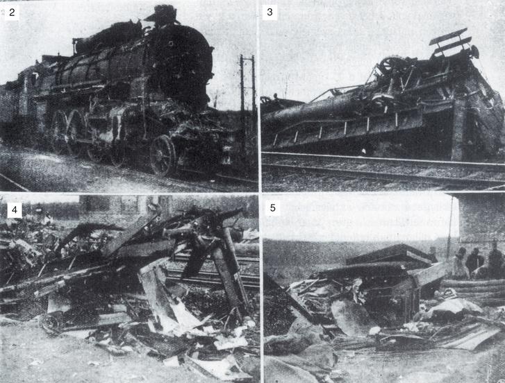 1., A katasztrófa helyszíne                         2.,Halálmozdony                         3.,Egy felborult kocsi                         4.,Thallóczy Lajos szalonkocsija                         5.,Ami a szalonkocsi berendezéséből megmaradt