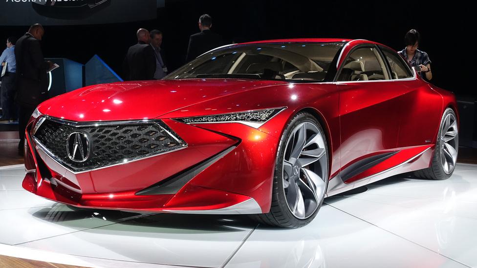 A Mazda folyamatosan arról beszél, micsoda trükköket művel a felszínek, a fényezés, a fények és az ezek hármasából adódó kontrasztok játékával, jellemzően metálpiros színben. Akkor álljon itt az Acura (azaz Honda) tanulmányautója egy standdal arrébról