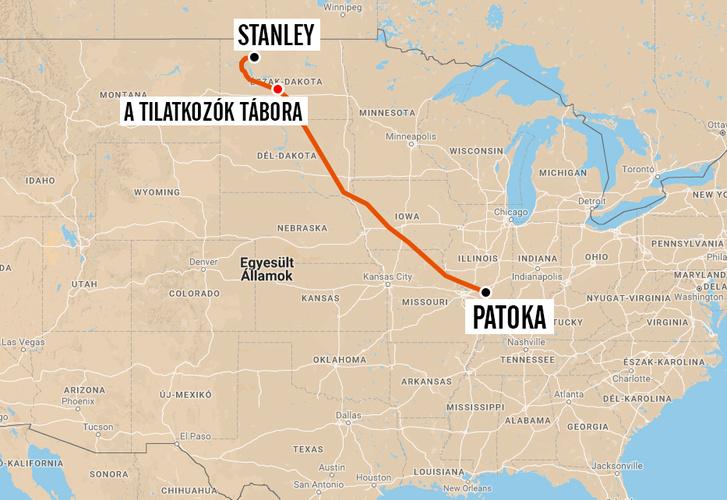 A vezeték tervezett útvonala