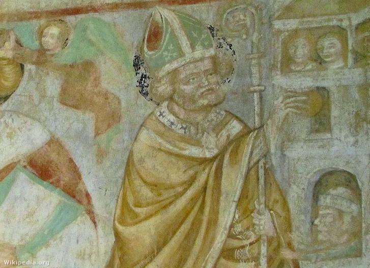 Mürai Szent Miklós, vagyis a Mukilás ajándékot ad be az ablakon a Veleméri templom freskóján