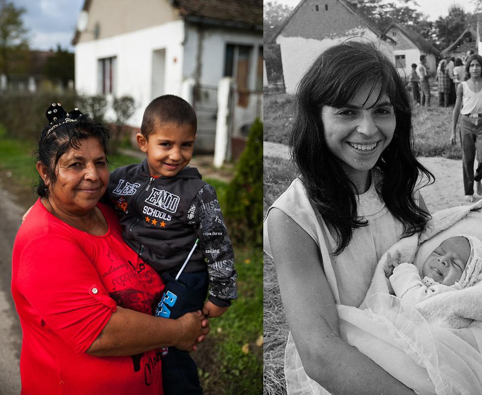 Katalin egyik unokájával 2016-ban és egyik gyermekével a hetvenes évek második felében | Fotó: Magócsi Márton // Révész Tamás