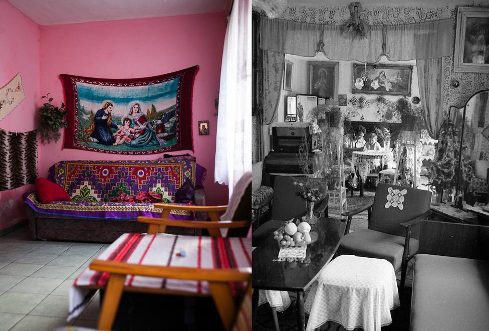 Két lakásbelső, az egyik 2016-ban, a másik pedig a hetvenes évek második felében | Fotó: Magócsi Márton // Révész Tamás