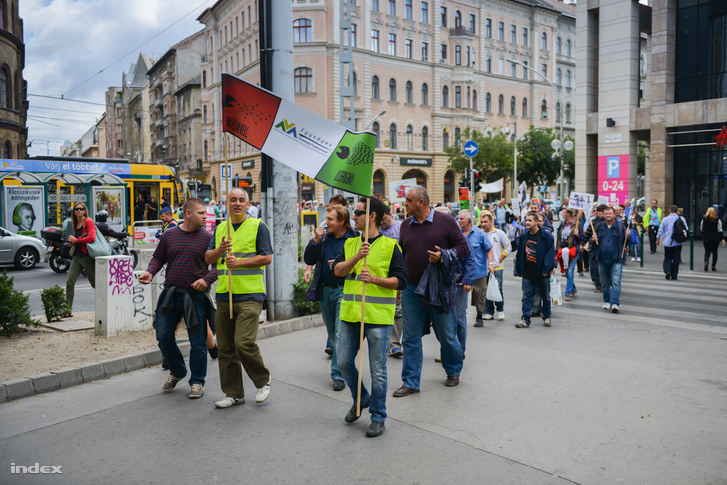 BKV dolgozók tüntetése 2013-ban.