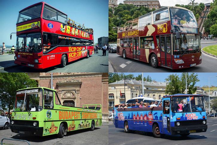 Bal felső kép: Giraffe Hop on Hop off; jobb felső: Big Bus; bal alsó: Budapest Sightseeing; jobb alsó: Mr. Nilsz