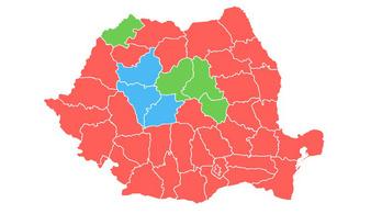 Vörösbe borult Románia a magyar megyék körül