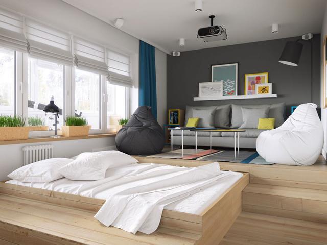 A kis lakásban élő városiakra gondolt a Geometrium kreatív csapata, mikor megtervezte ezt az emelt padló alá becsúsztatható ágyat, aminek köszönhetően jó pár négyzetcentimétert megspórolunk miközben nappalivá alakítjuk a hálószobát.