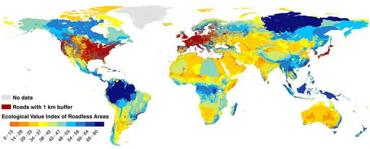 A felszabdalt területek ökológiai értéke (minél kékebb, annál fontosabb)