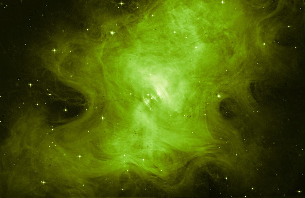 Október 30. Az 1600 fényévnyire lévő híres Rák-köd új képe, ami egyetlen zöld szűrővel készült.