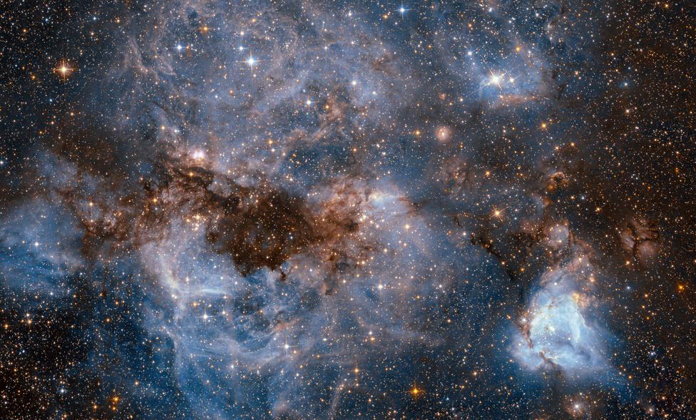 Fénylő gáz és sötétlő por kavargó vihara a a Nagy Magellán Felhőben. A Tejúthoz közeli, 160 000 fényévre lévő galaxisban lefényképezett, N159 névre hallgató csillagbölcső rengeteg fiatal, UV sugárzást kibocsátó csillagot foglal magába. A 150 fényév átmérőjű felhőben lévő hidrogén gáz az UV fénytől világít a képen látható fényességgel. A kozmikus köd közepén a Pillangó-csillagköd látható.