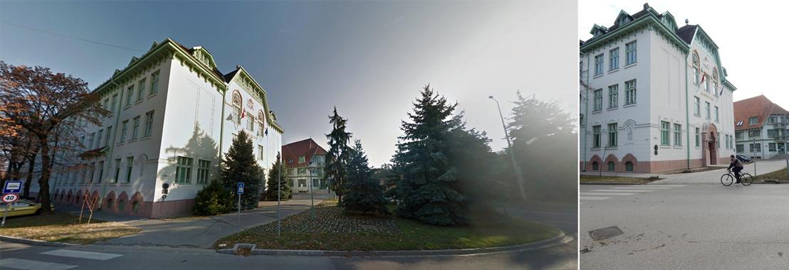 Google Street View felvétel a fenyőfákkal és a Délmagyar felvétele a fenyőfák hűlt helyével