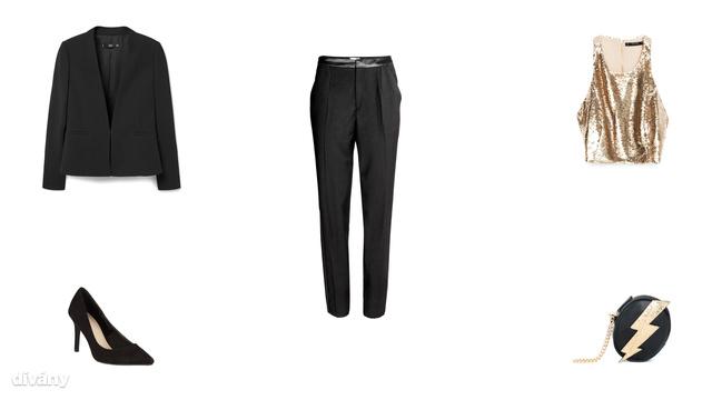 Zakó - 9995 Ft (Mango), nadrág - 8990 Ft (H&M), felső - 4995 Ft (Zara), cipő - 5990 Ft (F&F), táska - 3595 Ft (Pull&Bear)