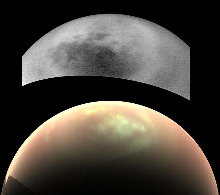 A fölső képet készített az Imaging Science Subsystem, és szinte teljesen felhőmentes. Az alsó, színes képet a Visual and Infrared Mapping Spectrometer készítette, és kiterjedt felhőzet látható rajta. Forrás: NASA/JPL-Caltech/SSI/Univ. Arizona/Univ. Idaho