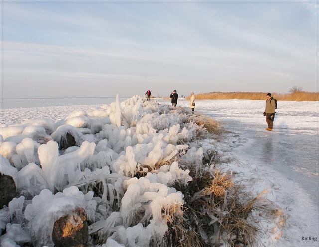 Turisták a Balaton jegén 2015 januárjában