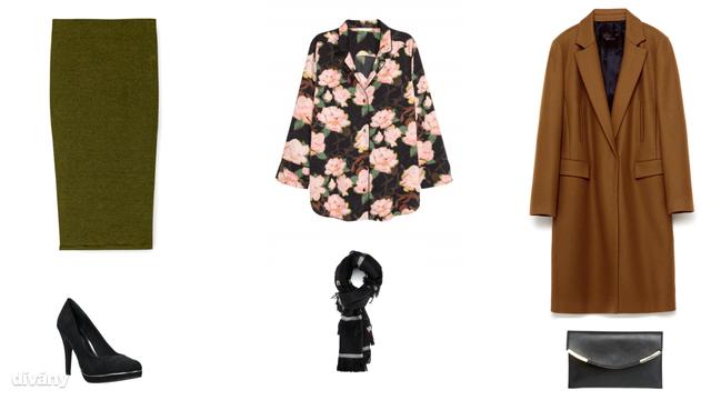 Szoknya - 1995 Ft (Pull&Bear), blúz - 6290 Ft (H&M) , kabát - 25995 Ft (Zara), cipő - 8190 Ft (CCC), sál - 2995 Ft (Reserved), táska - 8 font (Asos)