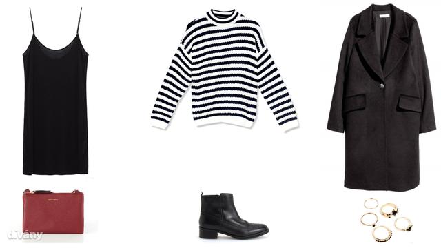Ruha - 1995 Ft (Zara), pulóver - 4995 Ft (Pull&Bear), kabát - 12950 Ft (H&M), táska - 14,99 euró (Springfield), bokacsizma - 9995 Ft (Reserved), gyűrű - 1195 Ft (Bershka)