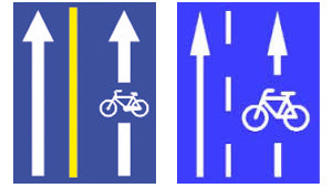 Kerékpársáv, nyitott kerékpársáv