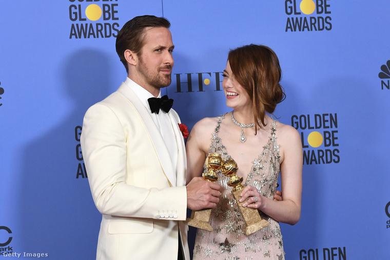A Kaliforniai álom, azaz a LA LA LAnd főszereplői: Emma Stone és Ryan Gosling.