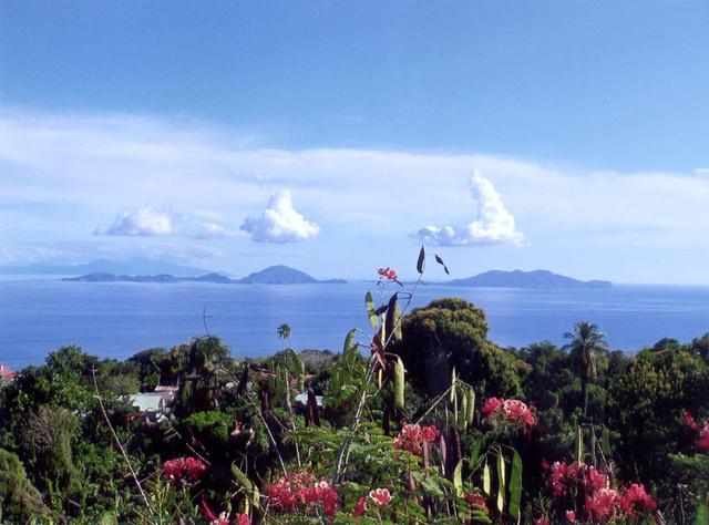 Kilátás Basse-Terre-ről a szomszédos szigetekre