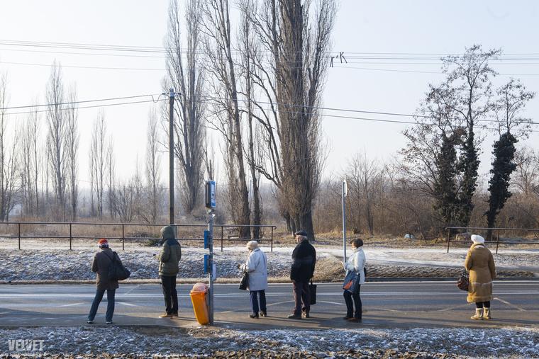 A Nagykőrösi úton sem kímélte a fagy a buszra várakozókat