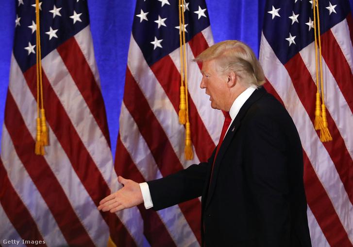 Donald Trump a megválasztása óta tartott első sajtótájékoztatóján szerdán.