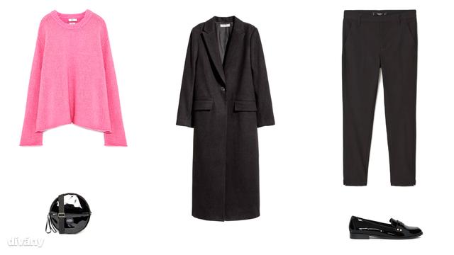 Pulóver - 9995 Ft (Zara), kabát - 17990 Ft (H&M), nadrág - 3995 FT (Mango) , táska - 35 font (Asos) , cipő - 6995 Ft (Pull&Bear)