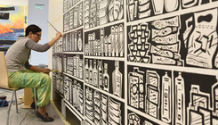 Hatalmas modern freskókat festettek a Modem falaira