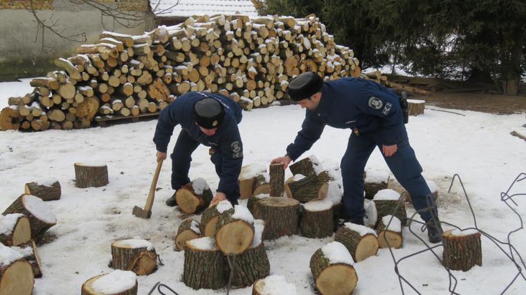 Zalai rendőrök fát vágnak egy idős néni kertjében 2017. január 17-én.