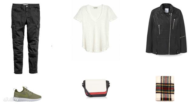 Nadrág - 9990 Ft (H&M), póló - 3990 Ft (H&M), dzseki - 39995 Ft (Mango), cipő - 29990 Ft (Pig Shoes), táska - 15,99 font (New Look) , sál - 3995 Ft (Zara)