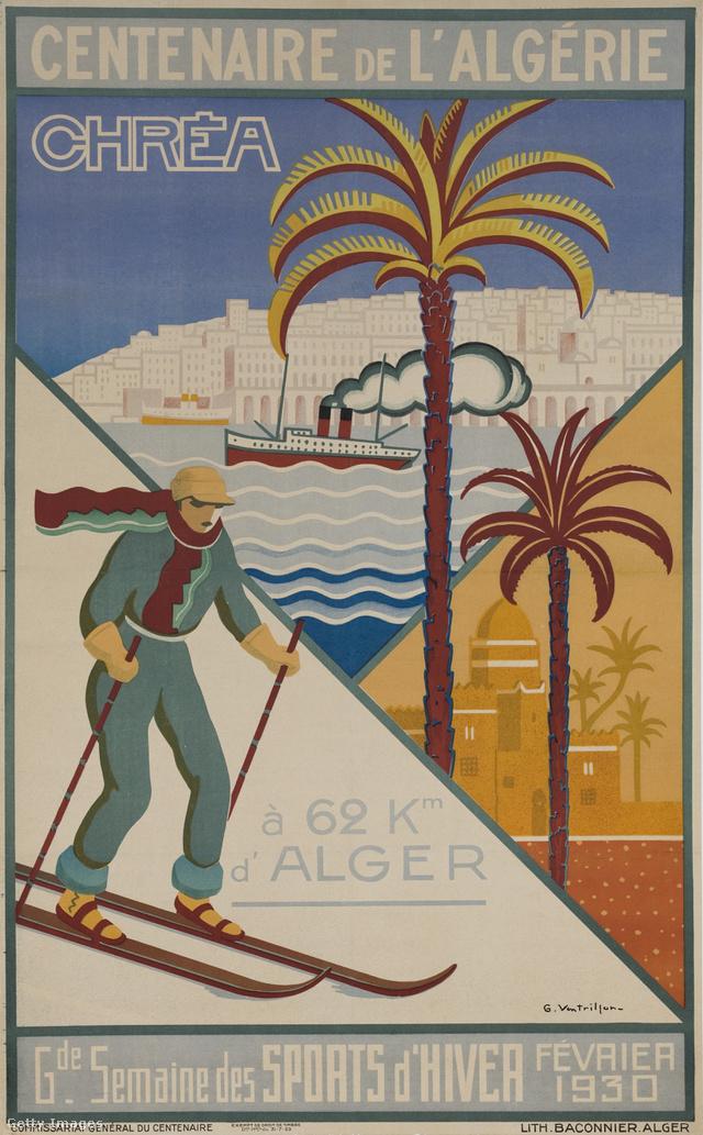 Art Deco reklámplakát Algériáról 1930-ból
