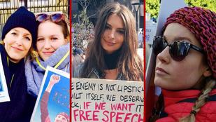 Emily Ratajkowski és más hírességek is kiálltak a Trump ellen tiltakozó nők mellett