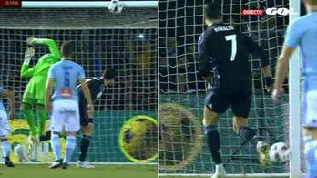 Cristiano sem hitte el: egy mp alatt két kapufa