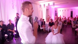Magyar dalszövegeket mixelt az esküvői beszédébe a vőlegény