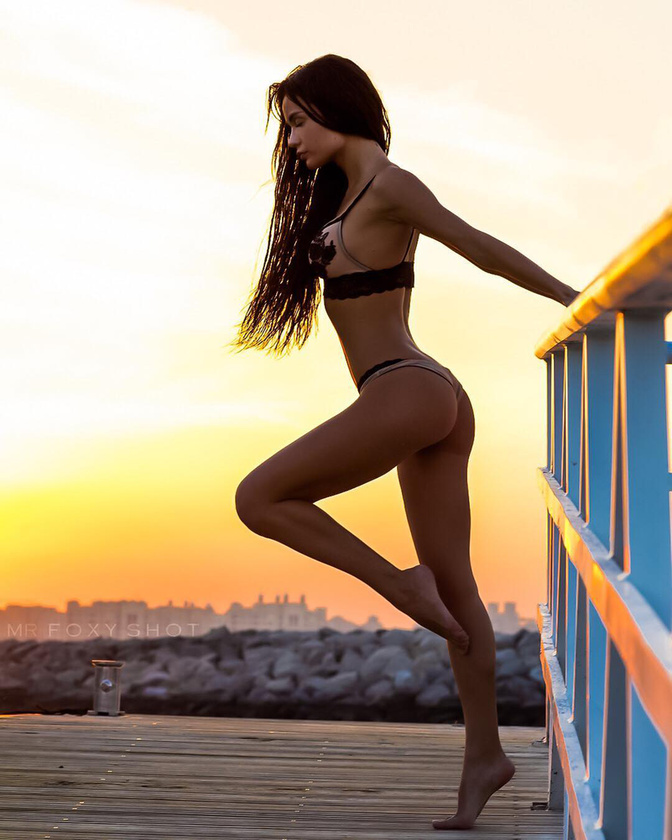 Hot Russian model who has only a tiny bikini willing to do yoga